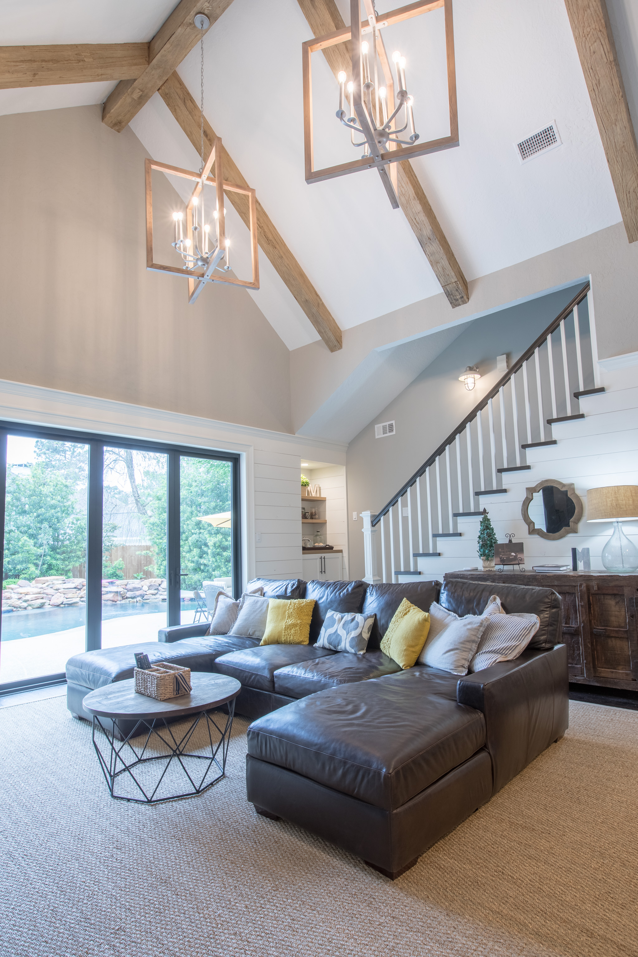 custom living room renovation la cantera doors